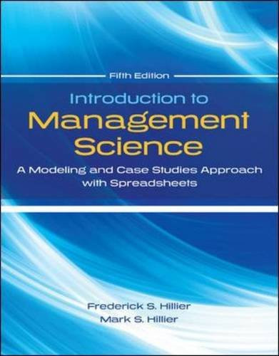 Introduction to Management Science (5th Edition) Hillier