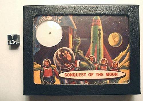 MOON ROCK, Genuine Lunar Meteorite Sample, Retro Sci-Fi Display