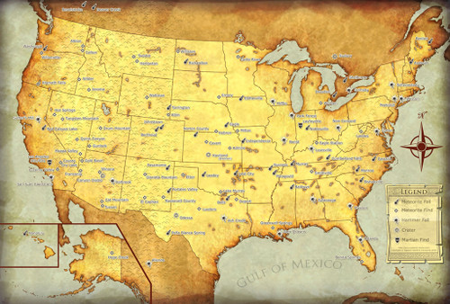 Meteorites of the United States Map, Large Canvas, Suitable for Framing