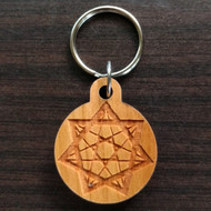Seven Pointed Star Hardwood Keychain