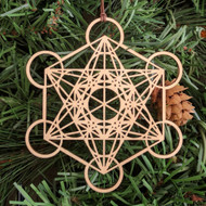 Metatron's Cube Holiday Ornament - Sacred Geometry - Laser Cut Wood