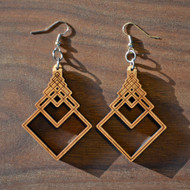 Square Fibonacci Cascade Hardwood Earrings