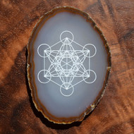 Metatron's Cube Design - Laser Engraved Agate