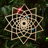 10 Sided Star Fractal Ornament - Sacred Geometry - Laser Cut Wood