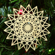18 Sided Star Fractal Ornament - Sacred Geometry - Laser Cut Wood