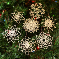 Star Fractal Holiday Ornaments - Set of Seven - Laser Cut Wood