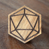 Isocahedron Cherry Wood Hat Pin