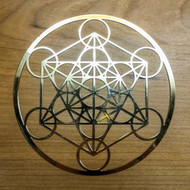 Metatron's Cube - 18 karat Gold Plated Crystal Grid - 4""