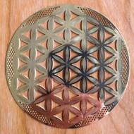 "Flower of Life (Detailed) - 18 karat Gold Plated Crystal Grid - 4"""