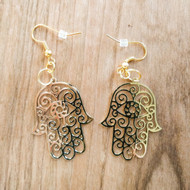 Hamsa Earrings - 18 Karat Gold Plated