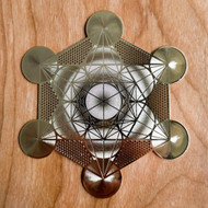 Metatron's Cube (Detailed) - 18 karat Gold Plated Crystal Grid - 6""