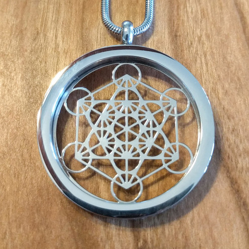 Metatrons cube pendant silver plated necklace lasertrees image 1 aloadofball Gallery