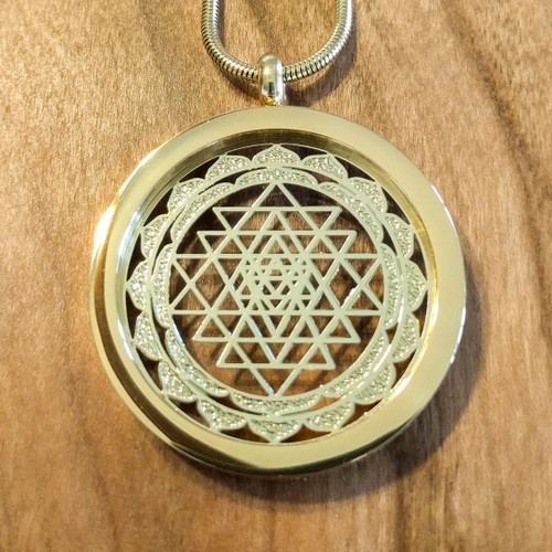 Sri yantra pendant 18 karat gold plated necklace lasertrees image 1 aloadofball Image collections