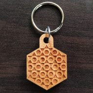 Triangle Circle Duality Hardwood Keychain