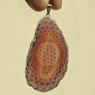 Flower of Life Phi Vortex Engraved Agate Pendant - Silver Plated
