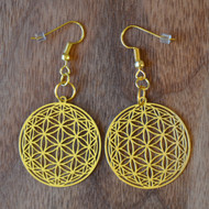 Flower of Life Orb Earrings - 18 karat Gold Plated