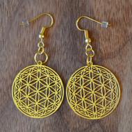Flower of Life Orb Earrings - 18 karat Gold Plated