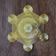 Metatron's Cube - 18 karat Gold Plated Crystal Grid - 2.8""