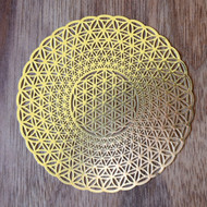 Flower of Life Phi Vortex - 18 karat Gold Plated Crystal Grid - 2.8""