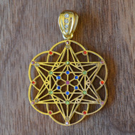 Star Tetrahedron Hexagon Seed of Life - 18 Karat Gold Plated Pendant with Rainbow Gemstones
