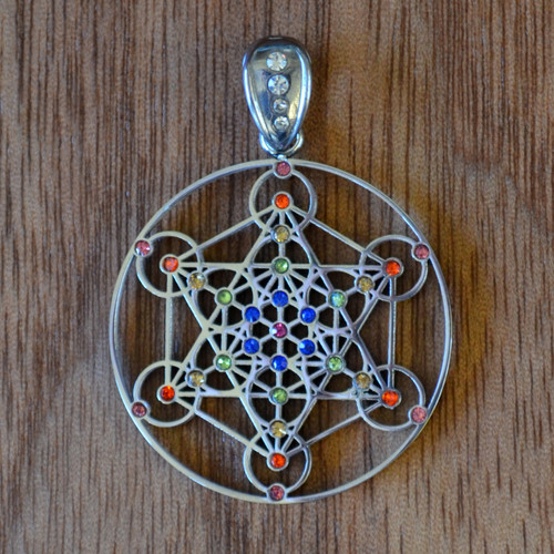 Metatrons cube silver plated pendant with rainbow gemstones image 1 aloadofball Gallery