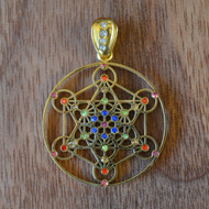 Metatron's Cube - 18 Karat Gold Plated Pendant with Rainbow Gemstones