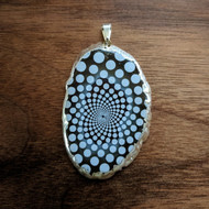 Phi Bubble - Silver Plated Laser Engraved Agate Pendant