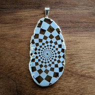Phi Checker - Silver Plated Laser Engraved Agate Pendant