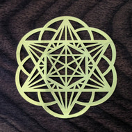 Star Tetrahedron Hexagon Seed Of Life - 18 Karat Gold Plated Crystal Grid - 2.8""