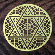 Six Sided Star - 18 Karat Gold Plated Crystal Grid - 2.8""