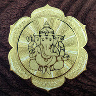 Ganesh Lotus - 18 Karat Gold Plated Crystal Grid - 2.8""