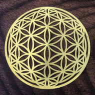 "Flower of Life Orb - 18 Karat Gold Plated Crystal Grid - 2.8"""
