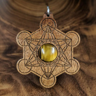 Metatron's Cube Hardwood Pendant in Walnut with 12mm Tigerseye