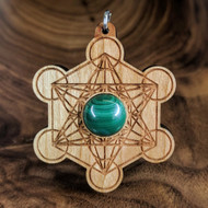 Metatron's Cube Hardwood Pendant in Cherry with 12mm Malachite