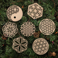 Flower of Life Holiday Ornaments - Set of Seven - Laser Cut Wood
