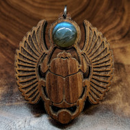 Sacred Scarab Hardwood Pendant in Walnut with Labradorite