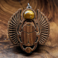 Sacred Scarab Hardwood Pendant in Walnut with Tigerseye