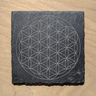 Flower of Life Laser Etched Slate Coaster