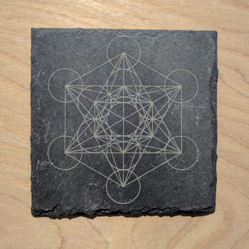 Metatron's Cube Laser Etched Slate Coaster - Square