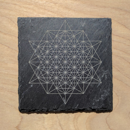 64 Sided Tetrahedron Etched Slate Coaster - Square