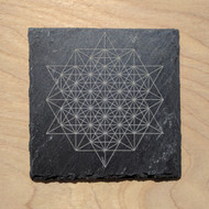 64 Sided Tetrahedron Etched Slate Coaster