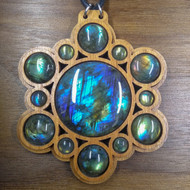 'XL Layered Multi-Orb' Labradorite Walnut Hardwood Gemstone Pendant