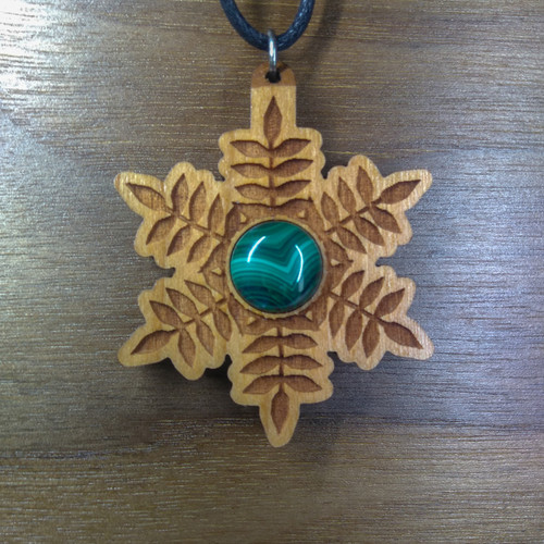 Cherry Hardwood with a 12mm Malachite Gemstone