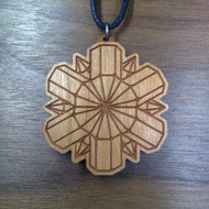 'Quartz Wheel' Hardwood Pendant