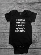 CumminsGear | Black Infant Onsie Toddler Shirt | White If it Blows Black Smoke | T0099