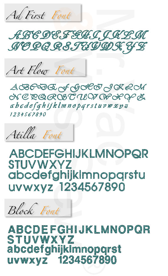 Monogram Wizard Built-In Embroidery Fonts Page 1