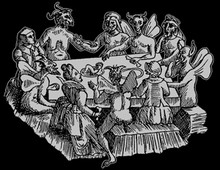 Ashton's Witches & Devils Dining on a Baby T-Shirt