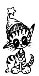 Cool Cat Rubber Stamp - 80A04