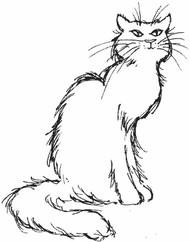 Sitting Cat Rubber Stamp - 4A12