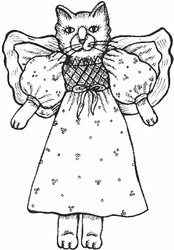Angel Cat Rubber Stamp - 5A12